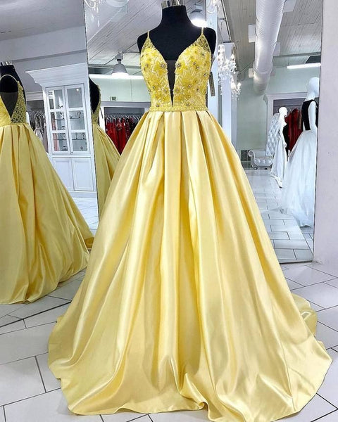 Modest yellow Prom Dress , Charming Prom Dress  cg6708