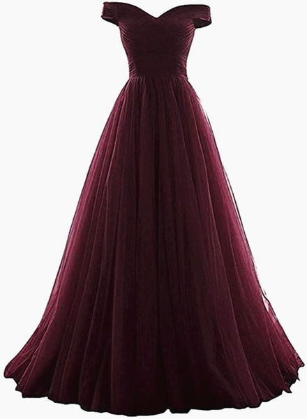 Maroon Off Shoulder Bridesmaid Dress Long, Simple Tulle Prom Dress KS6323