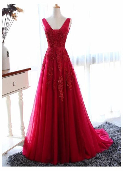 Wine Red V-neckline Tulle Long Party Dress, Dark Red Low Back Tulle Bridesmaid Dress KS6585
