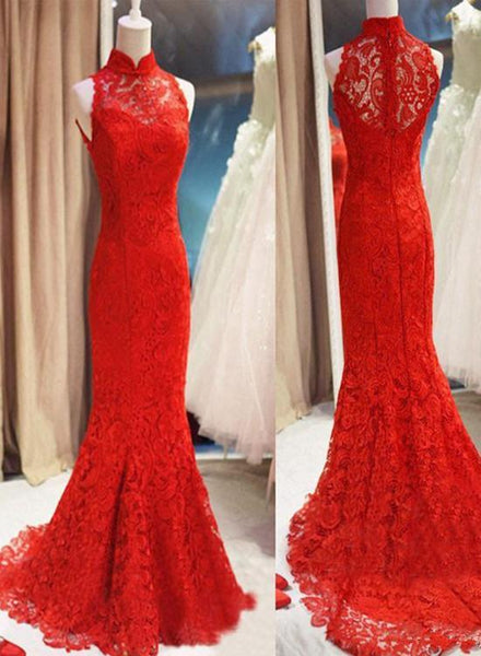 Red Lace Mermaid Long Formal Gown, Red Bridesmaid Dress KS6557