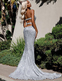 Mermaid Black Silver Long Prom Dresses Split Front Evening Dresses 044