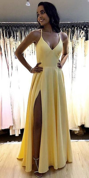 2020 Prom Dresses Simple Long Spaghetti Straps Yellow Prom Dress 005