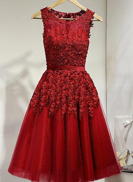 Dark Red Tulle Knee Length Party Dress, Wine Red Homecoming Dress KS4995