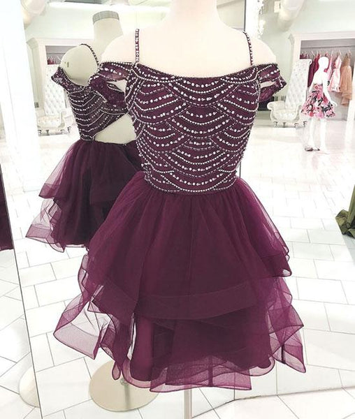 Cute tulle sequin short prom dress, cute homecoming dress KS4718