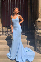 Blue satin mermaid long prom dress, blue evening dress
