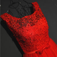 Pretty Red Tulle and Lace Tea Length Party Dress, Red Homecoming Dress KS4702