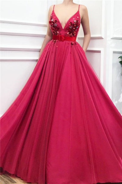 Sexy Spaghetti Straps V Neck Burgundy Prom Dress Chic Tulle Flower Beading Long Prom Dress with Sash KS1830