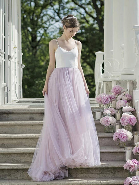 Sexy A Line Spaghetti Straps Open Back White Top Purple Prom Dresses, Purple Formal Dresses, Evening Dresses KS1874