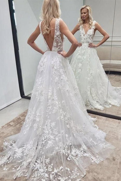 V Neck and V Back White Lace Long Wedding Dress, Long White Lace Prom Dress, White Formal Evening Dress KS1862