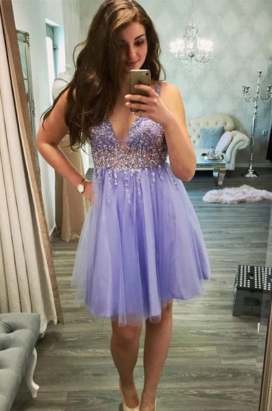 Princess Tulle Beaded Tulle Prom Dress Homecoming Dress T1769