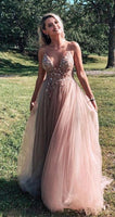 Hot Prom Dresses with Beading, Popular V-neck Long Eveing Dress 006