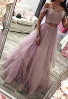 Pink tulle long prom dress two pieces evening dress KS3990