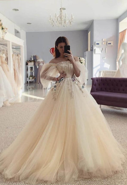 Champagne tulle long prom dress evening dress KS4094
