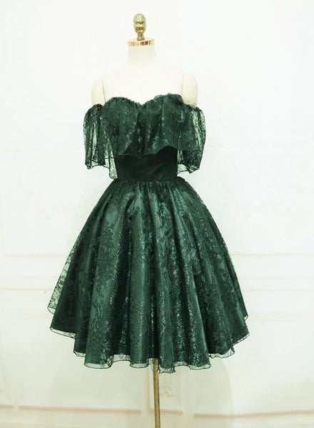 Beautiful Dark Green Lace Off Shoulder Short Party Dress, Lace Homecoming Dress KS5235