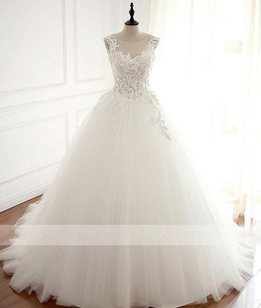 White round neck tulle lace applique long wedding dress, white wedding dress KS4921