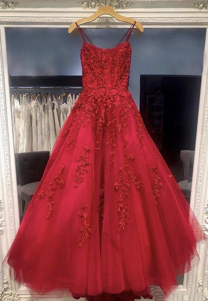 Burgundy lace tulle prom dress lace evening dress KS4215