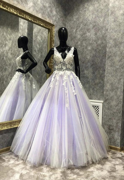 Light purple tulle appliqué long prom dress KS4218