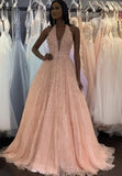 Pink tulle sequins long prom dress evening dress KS4150