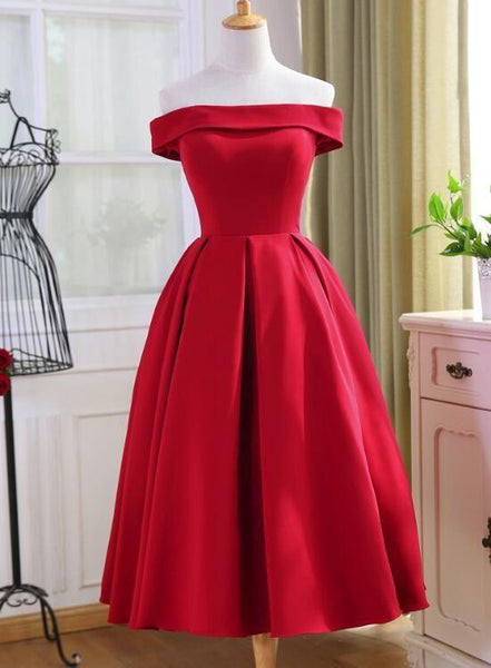 Beautiful Red Satin Tea Length Off Shoulder Party Dress, Red Homecoming Dress KS4688
