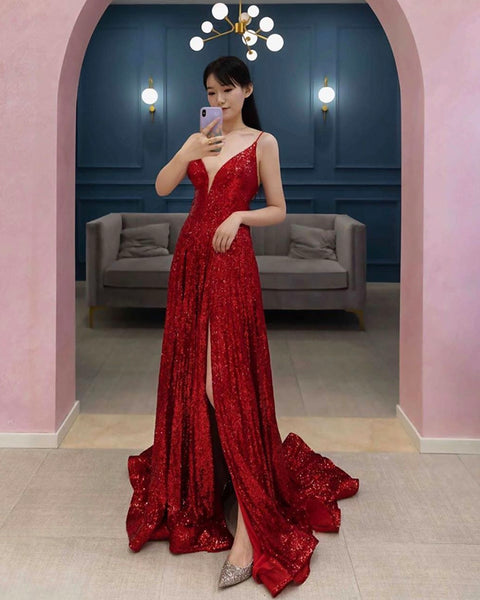 Burgundy sequins long prom dress evening dress KS7004