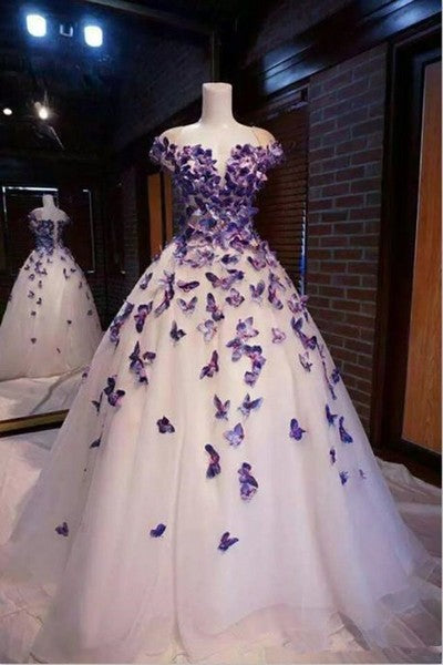 P1219,Purple Butterfly Appliques Ball Quinceanera Dress Birthday Party Sweet 16 Gown