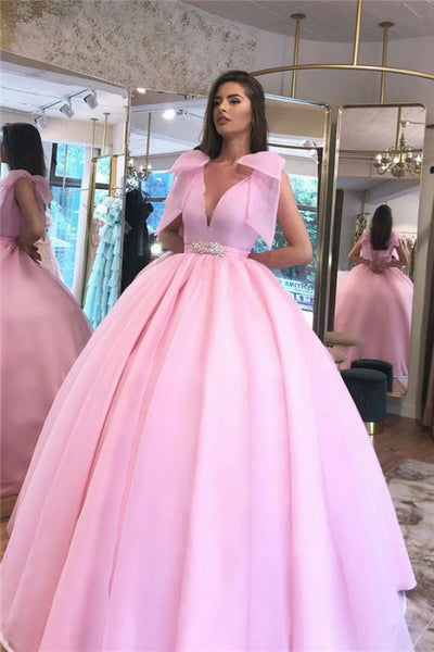 Puffy Ball-gown V-neck Beaded Hot-pink Prom Dress D0961