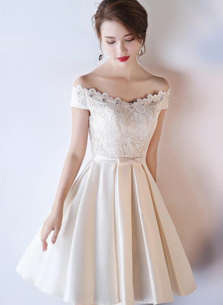 Lovely Light Champagne Knee Length Lace Top Party Dress, Cute Homecoming Dress KS4701