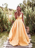 2020 Prom Dresses Light Pastel Yellow Sexy Spaghetti Straps V-neck Long Prom Dress 001