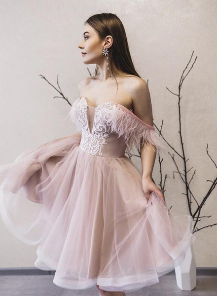Pink tulle off shoulder prom dress party dress KS1482