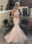 Pink sweater neck long prom dress mermaid evening dress KS1344