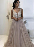 A line v neck lace tulle prom dress formal dress KS1487