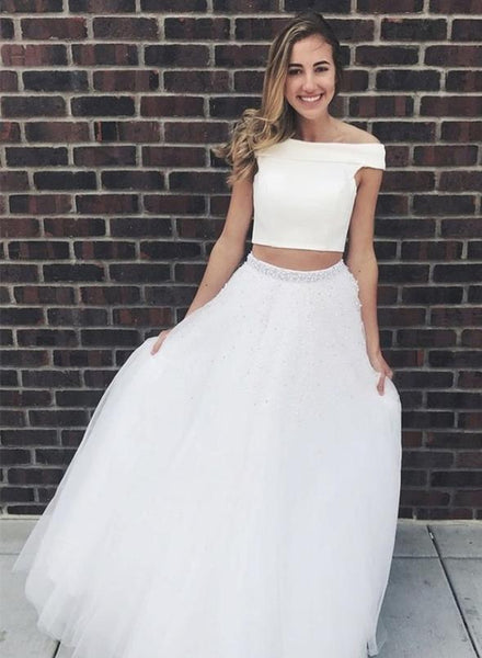 White tulle prom dress two pieces evening dress KS1499