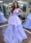 Light purple tulle prom dress evening dress KS1525