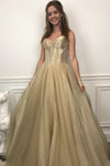 Gold A line long prom dress sweater evening dress KS1329