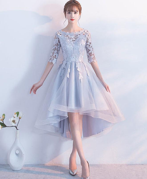 Beautiful Grey High Low Tulle with Lace Homecoming Dress, Cute Party Dress KS6218