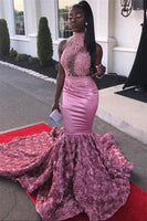 Black Girl Prom Dress Beads Appliques Pink Flowers Prom Dresses Cheap | Halter Sleeveless Mermaid Sexy Graduation Dresses JY0036