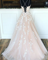 Spaghetti Straps Floor Length Prom Dress With Appliques, Long Evening Dress Lace Up Back 081