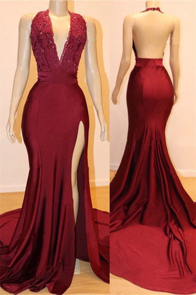 Sexy Backless Burgundy Prom Dresses with Slit Evening Dresses