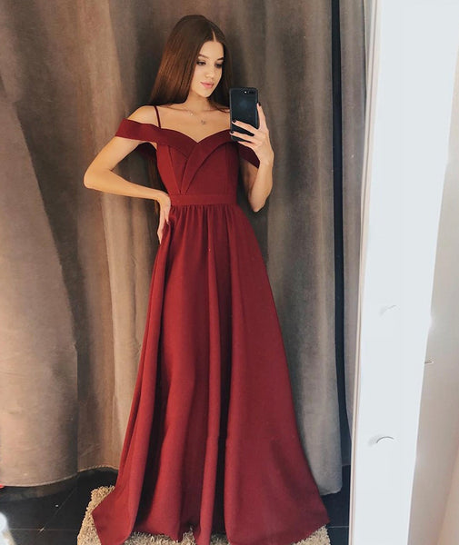 Burgundy satin long prom dress simple evening dress KS7002