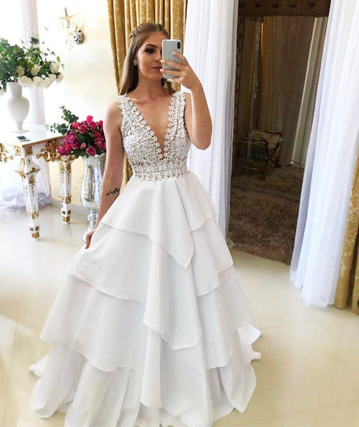 White v neck long prom gown dress formal dress KS7005