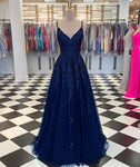 Blue v neck tulle lace prom dress A line evening dress KS6995