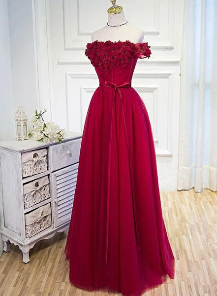 Beautiful Long Party Dress, Off Shoulder Dark Red Prom Dress KS6116