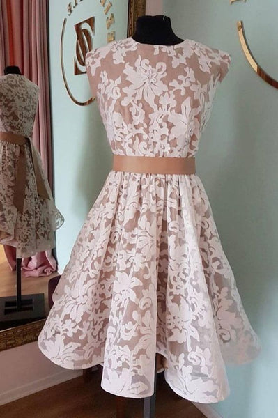 A Line Lace Homecoming Dress, Short Prom Dress H3676