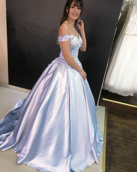 Charming Off Shoulder Appliques Ball Gown Prom Dress, Formal Quinceanera Dress H3681