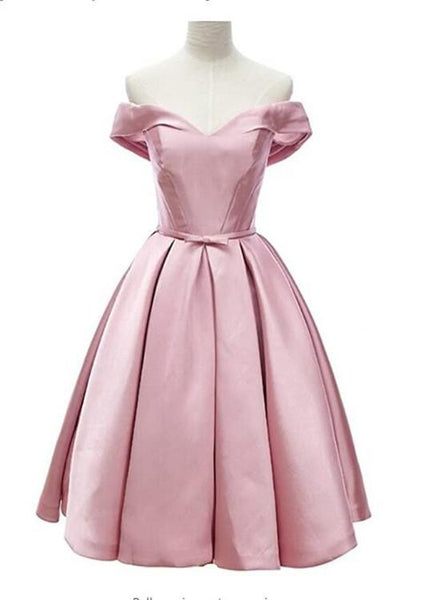 Pink Satin Sweetheart Knee Length Party Dress, Pink Homecoming Dress KS5291
