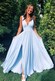 2020 prom dresses simple blue v neck long prom dress, evening dress 007