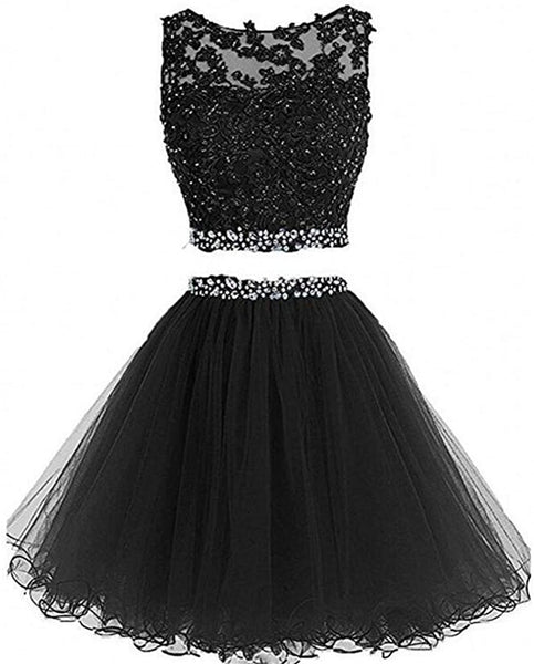 sexy mini fashion dress 2 pieces black homecoming dresses P3396