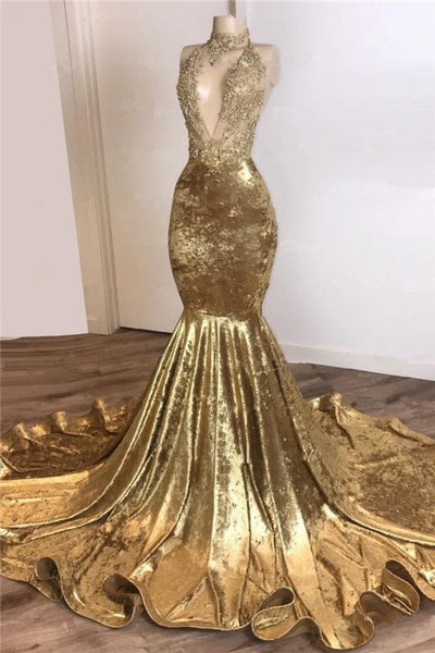 Halter Backless Gold Prom Dresses Cheap with Beads Appliques | Mermaid Velvet Sexy Evening Gowns BC3664
