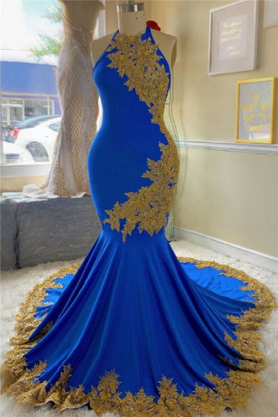Gold Lace Royal Blue Prom Dresses with Beads | Open Back Plus Size Formal Dresses Cheap MQ0137