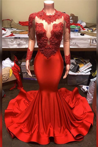 Black Girl Prom Dresses Long Sleeves Mermaid Red Prom dresses | Sheer Tulle Lace Appliques Evening Dresses M0067